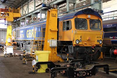 66714 inside Eastleigh Works.