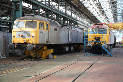 47813 and 57306 inside Eastleigh Works.