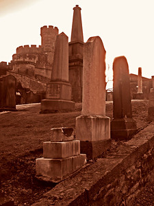 Much of the rest of Old Calton Cemetery is similarly wonderful. The battlements in the distance are all that's left of an historic prison.