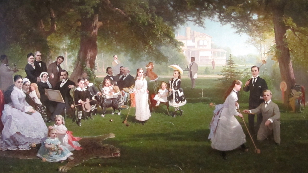 Painting of the Stanford family in the Cantor Arts Center at Stanford. I have always wondered about the ghotly figure in the background...