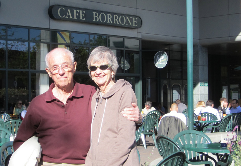 Dad and Mom at the landmark Cafe Borrone in Menlo Park