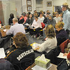 Tribune-Star/Jim Avelis<br /> Full house: The meeting room of the Marshall School Board was packed with students and parents interested in having their voices heard on behalf of retaining Silvia Weir as a teacher at their high school.