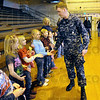 Thank you: U.S. Navy sailor Ryan Watts thanks students at Montezuma Elementary School Thursday afternoon during his homecoming.