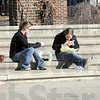 Lunch: Indiana State University students Kendra Martin of Indianapolis and Kelly Shulman of Bloomington, Illinois enjoy the moderate temperatures and lunch in Dede Plaza Friday afternoon.
