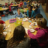 Tribune-Star/Jim Avelis<br /> Good start: Deming Elementary School students start their Boot Camp with a snack. This week it was ice cream, last week it was pizza.