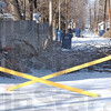 Tribune-Star/Jim Avelis<br /> Do not enter: Terre Haute Street Department barricades block entry to an alley off Seabury Street near 12th street. Downed tree brances and power lines were the reason for the barricades.
