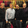 Tribune-Star/Rachel Keyes<br /> Local Legends: Rick Waggoner (far left), John Beason (left) Marc Rogers (right) Andrew Hayes (far right) pictured together. Marc Rogers will be inducted into the Wabash Valley Musician's Hall of Fame Sunday February 13th.