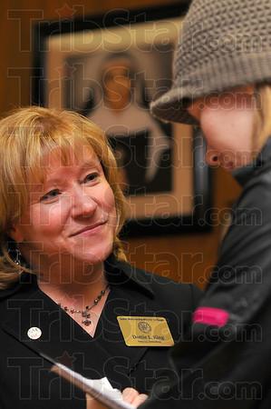 Tribune-Star/Jim Avelis<br /> New leader: Dottie King was named the new President of St. Mary-of-the-Woods College Friday afternoon by its board of directors. Herre she is interviewed after the announcement by SMWC student Lauren Sutton.