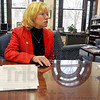 Tribune-Star/Jim Avelis<br /> Adjusting: Dottie King, interim president of St. Mary-of-the-Woods College, talks with tribune-Star reporter Sue Loughlin about changes in the offing at the school.
