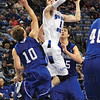Tribune-Star/Rachel Keyes<br /> Aggressive Two: The Sycamores Jake Odum goes up hard for two against the Bulldogs.