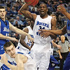 Tribune-Star/Rachel Keyes<br /> Crash the Boards: Indiana State's Myles Walker brings down the rebound against Drake at Saturday's home game.