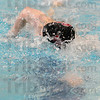 Tribune Star/ Rachel Keyes<br /> Big Splash: Terre Haute South's Nolan Roach competes in the Boys 50 Yard Freestyle at sectionals.