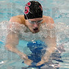 Tribune Star/ Rachel Keyes<br /> Head Above the Water: Terre Haute South's Addison Bray swims the breaststroke in the boys 200 yard IM at sectionals this Saturday.