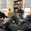 Religion: Dr. Jean Kristeller (L) listens as Jamie Ramsey and Bill Hughes talk interfaith religion with Tribune-Star reporter Brian Boyce Saturday afternoon.