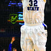 Tribune-Star/Jim Avelis<br /> Outside: Aaron Carter drains a first half three point shot against Southern Illinois Saturday.