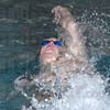 First place: Addison Bray swims the backstroke leg of the 200 yard individual medley.