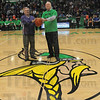Tribune-Star/Rachel Keyes<br /> Recreating The Past: Victor Burson (left) and Bill Kemper (right) recreate the picture taken in 1961 at the dedication of the West Vigo Gymnasium.