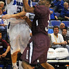 Tribune-Star/Jim Avelis<br /> Heads up: Jake Odum finds an open teammate and gets a pass off past the defense of Saluki Mykel Cleveland.