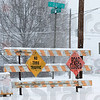 Tribune-Star/Rachel Keyes<br /> Impassable: Road Closed signs on N 23rd street as snow and ice make some streets impassable.