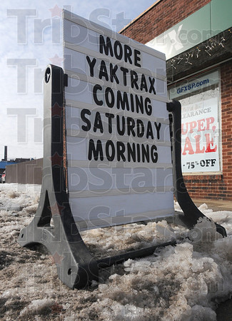 Tribune-Star/Jim Avelis<br /> Icy hot: The Element Outdoor Outfitters store at 11th and Wabash couldn't keep ice cleats in stock.