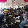 Tribune-Star/Rachel Keyes<br /> Polar Ice: Rose-Hulman's Delta Sigma Phi fraternity celebrates the first day of Sonka's patio opening with the 15th annual Polar Ice day. At the first annual Polar Ice day in 1996 the temperature was -2 degrees.