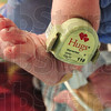 Tribune-Star/Rachel Keyes<br /> Safe and Sound: New born baby Paige Smith has been outfitted with Union Hospital's state of the art security ankle bracelet dubbed HUGS, this safety measure alert staff in case of attempted kidnapping.