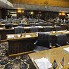 Tribune-Star/Jim Avelis<br /> AWOL: Most of the chairs on the Democrat side of the aisle in the Indiana House chamber sit empty Tuesday afternoon. A mass walkout left the House unable to conduct business, being short of the needed quorum.