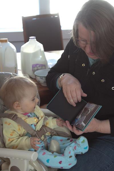 Grandma reads a very special book.