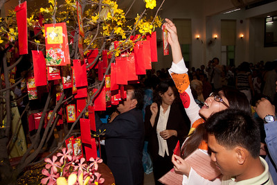 "On ""Tet"" (Lunar New Year's Day) people come to church before the sun is even up to give thanks to God and bring their gifts to Him."