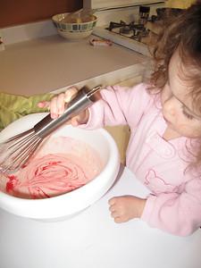 making pink pancakes