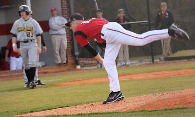 Freshman Erik Heiligenstadt pitches in the home opener on February 22nd, 2011