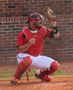 Catcher John Harris plays against Applachian State.