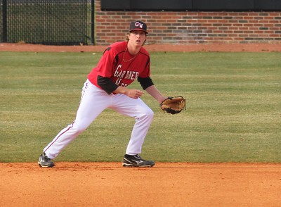 Daniel Merck awaits a pitch in  Gardner-Webb's match against the Mounties.