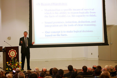 Former BB&T CEO John Allison speaks to GWU students and the community in the Blanton Auditorium, hosted by the Godbold School of Business's Center for Ethics and Entrepreneurship.