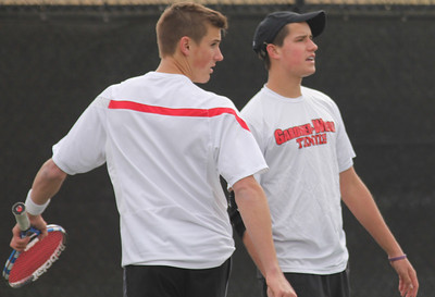 Julian Belair (L) and Matthew Parker (R) protest a call in their match against the Blue Hose.