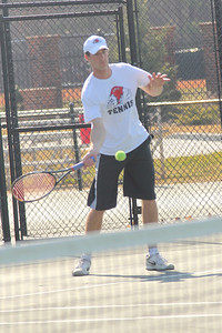 Senior Andrew Carter faces an opponent from Lees-McRae College.