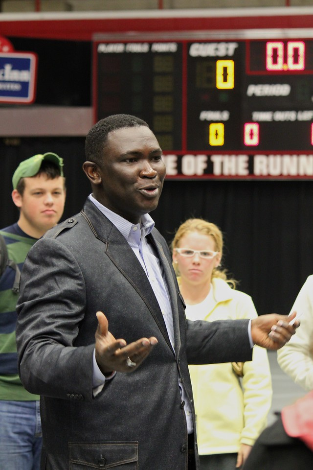 Smaratan's Feet founder Manny Ohonme speaks to GWU athletes after Dimensions on Tuesday, February 1, 2011. The Student Athelete Advisory Committee donated over 1,000 pairs of shoes to the ministry.