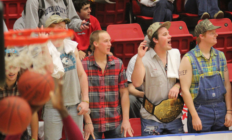 The Holtmanniacs heckle fans from the Winthrop side.