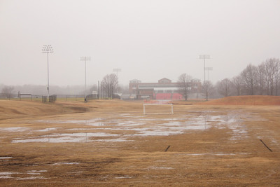 The practice field turned into a lake overnight at GWU.
