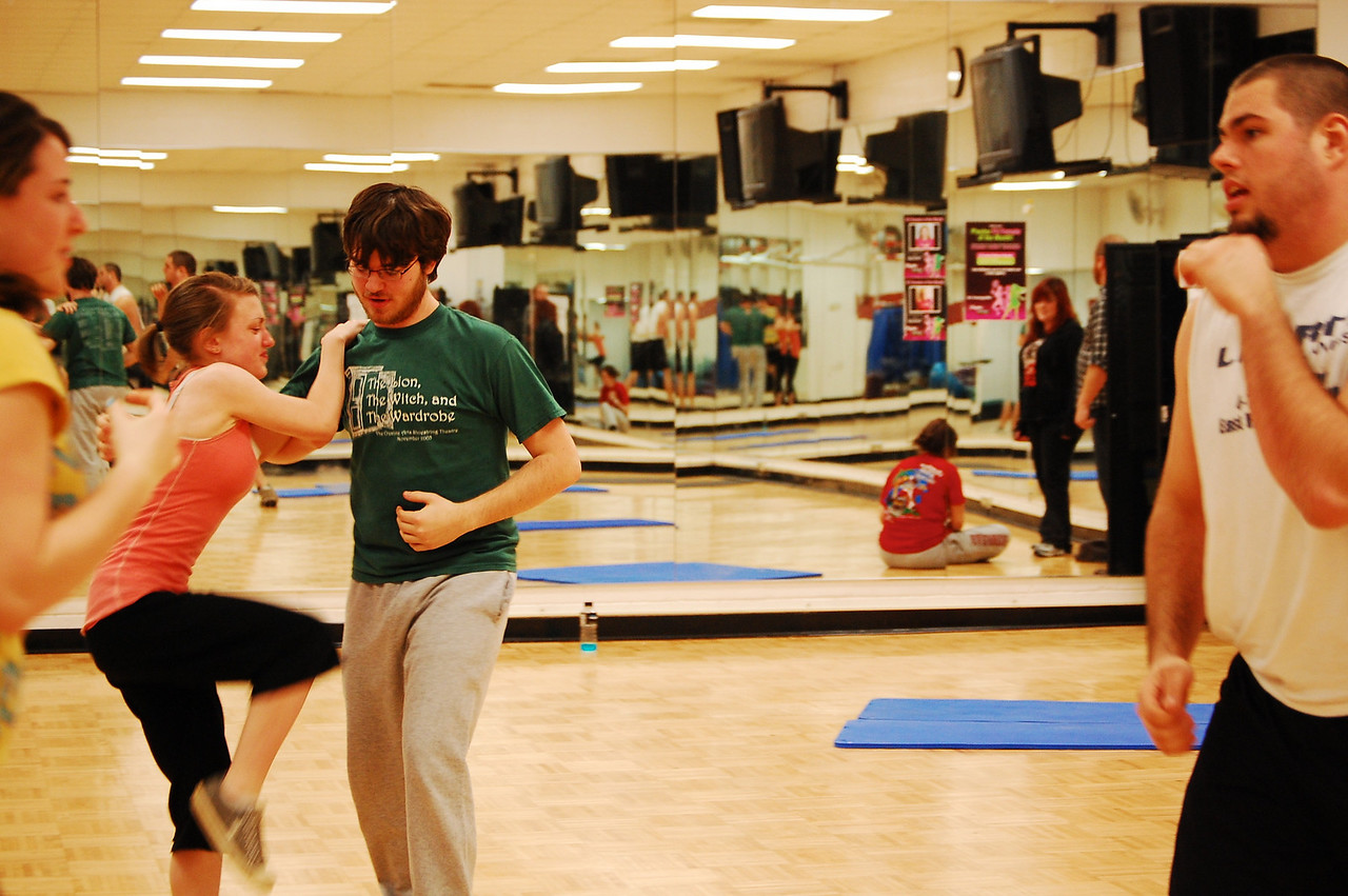 Stage Combat Class practices their stage fights