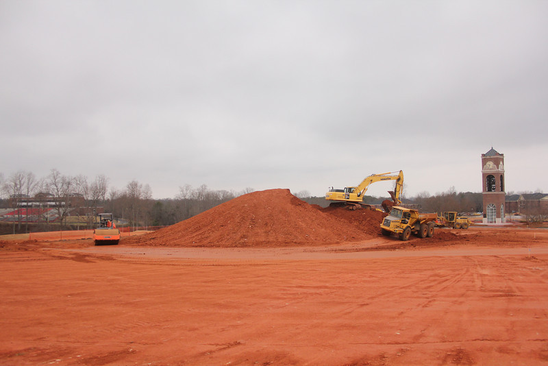 Some of the land cleared for the new Tucker Student Center.