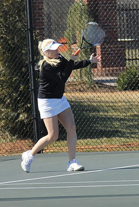 Laura Kriett plays in a match against Elon.