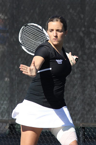 Rita Gouveia plays tennis in a match on February 19th, 2011.