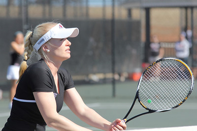 Laura Kriett plays in a doubles' match against Elon on February 19th.