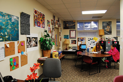 The Writing Center's new, colorful look helps create a relaxed setting for students needing help on a paper.