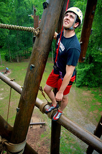 Climbing at the Broyhill Adventure Course.