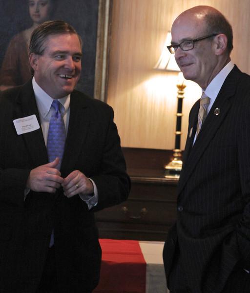 Dr. Frank Bonner, President of Gardner-Webb University, speaks with David Page during the Executive Breakfast.