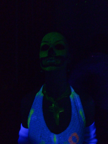 Sweet glow in the dark face paint job!