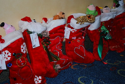 Hand-decorated stockings filled to the brim!
