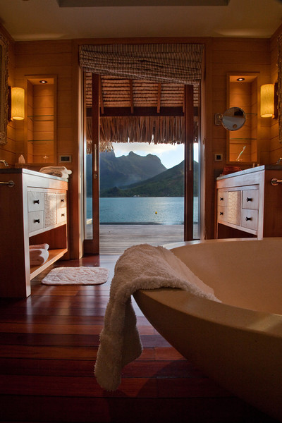 bora bora four seasons bath view